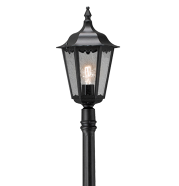 Konstsmide Firenze 1 Light Outdoor Lamp Post, Black Finish With Clear Glass Panels - 7233-750