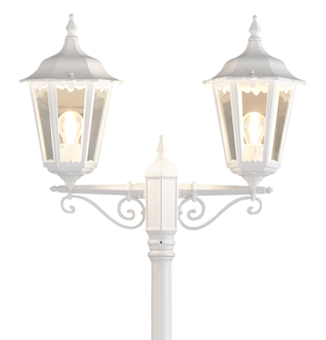 Konstsmide Firenze 2 Light Outdoor Lamp Post, White Finish With Clear Glass Panels - 7234-250