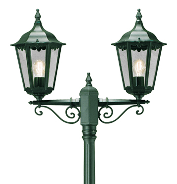 Konstsmide Firenze 2 Light Outdoor Lamp Post, British Racing Green Finish With Clear Glass Panels - 7234-600