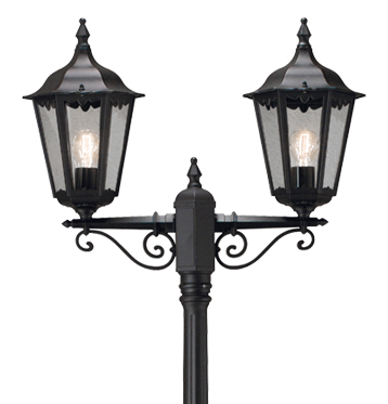 Konstsmide Firenze 2 Light Outdoor Lamp Post, Black Finish With Clear Glass Panels - 7234-750
