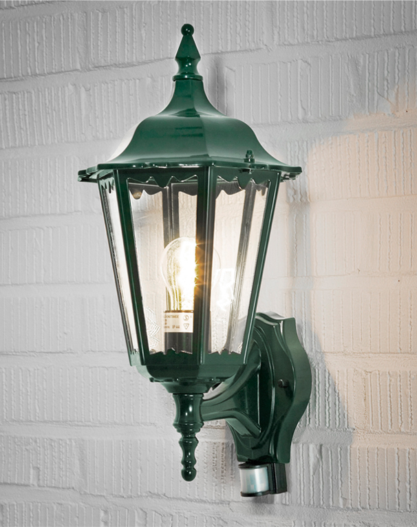 Konstsmide Firenze IP43 1 Light Outdoor Wall Light, British Racing Green Finish With Clear ...