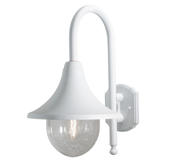Konstsmide Bari 1 Light Outdoor Wall Light, White Finish With Clear Acrylic Diffuser - 7237-250