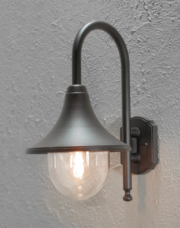Konstsmide bari ip44 1 light outdoor wall light black finish with clear acrylic diffuser 7237 750
