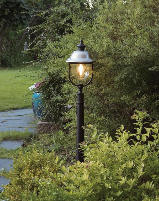 Konstsmide 39 Parma 39 IP43 1 Light Outdoor Pedestal Lamp Black And Stai
