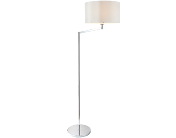 Endon Evelyn 1 Light Swing Arm Floor Lamp, Chrome Plate Finish With Vintage White Faux Silk Shade - 72424
