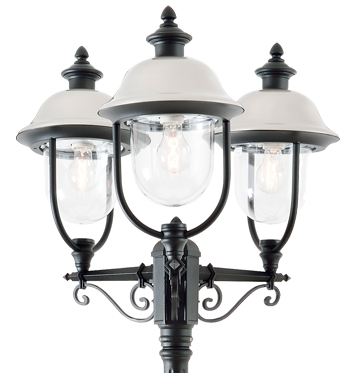 Konstsmide Parma 3 Light Outdoor Lamp Post, Black And Stainless Steel Finish - 7243-000