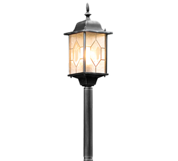 Konstsmide Milano 1 Light Lamp Post, Distressed Black Silver Finish With Acrylic Glass - 7245-759