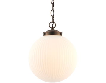 Endon Brydon 1 Light Pendant, Matt Opal Duplex Glass & Dark Bronze Effect Finish - 72460