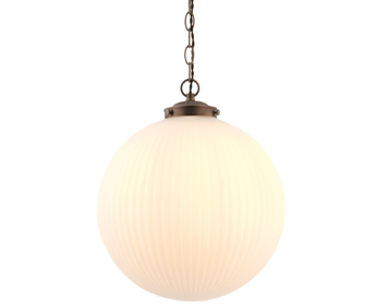Endon Brydon 1 Light Pendant, Matt Opal Duplex Glass & Dark Bronze Effect Finish - 72461