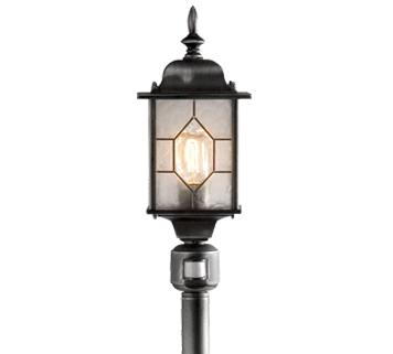 Konstsmide Milano 1 Light Lamp Post, Distressed Black Silver Finish & Acrylic Glass With PIR Sensor - 7249-759