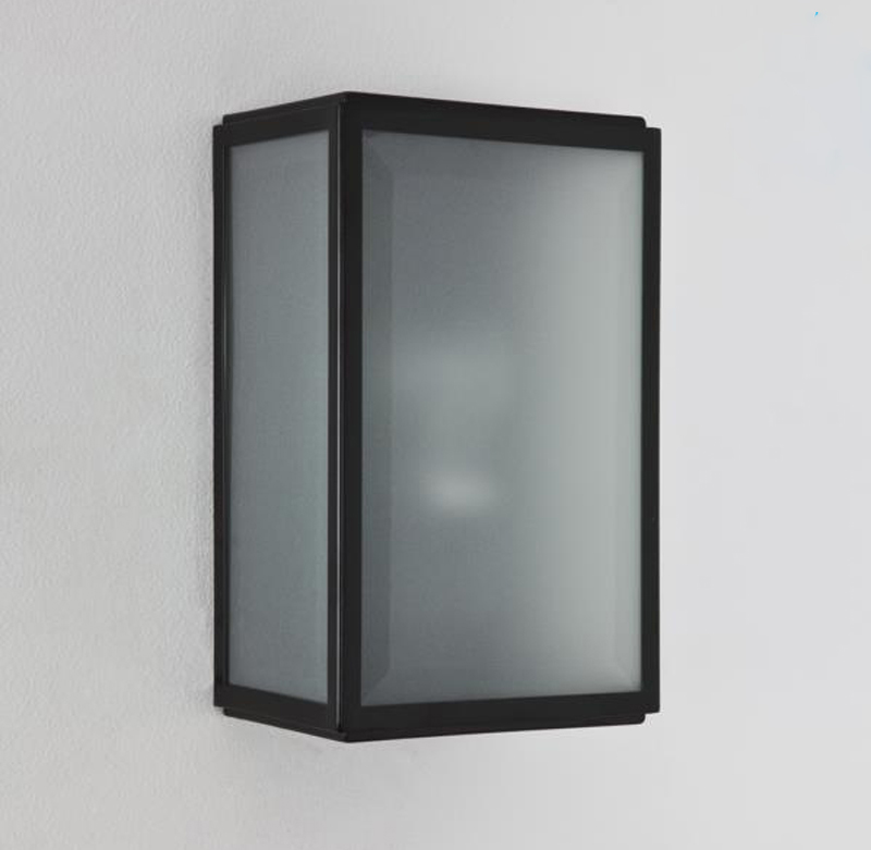 Astro Homefield IP44 Outdoor Flush Wall Light With PIR Sensor, Painted Black Finish & Frosted ...