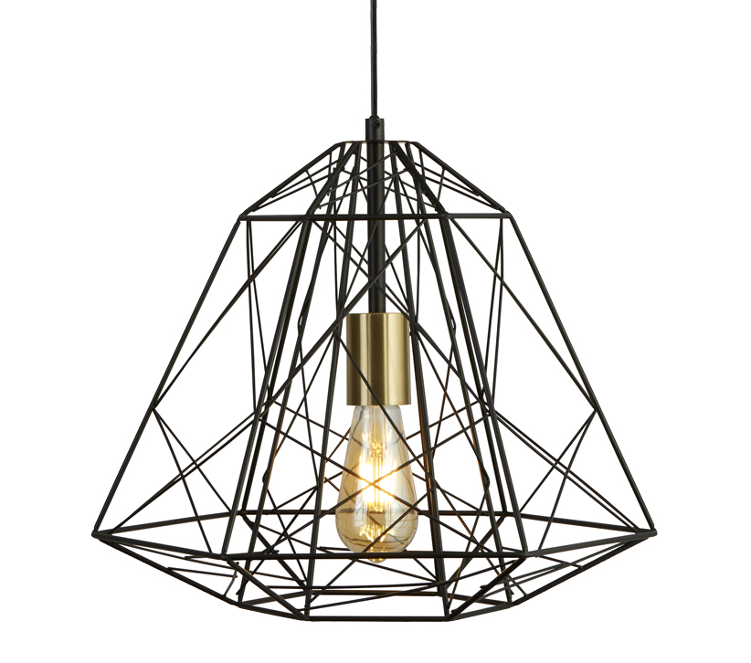Searchlight Geometric Cage 1 Light Pendant Light, Matt ...
