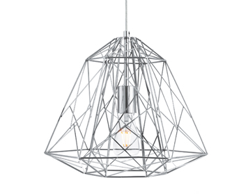 Searchlight Geometric Cage 1 Light Pendant Ceiling Light, Chrome Finish With Wire Frame Shade - 7271CC