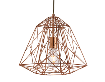Searchlight Geometric Cage 1 Light Pendant Ceiling Light, Copper Finish With Wire Frame Shade - 7271CU