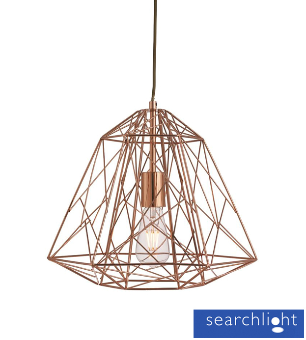 Searchlight Geometric Cage Frame Pendant Ceiling Light