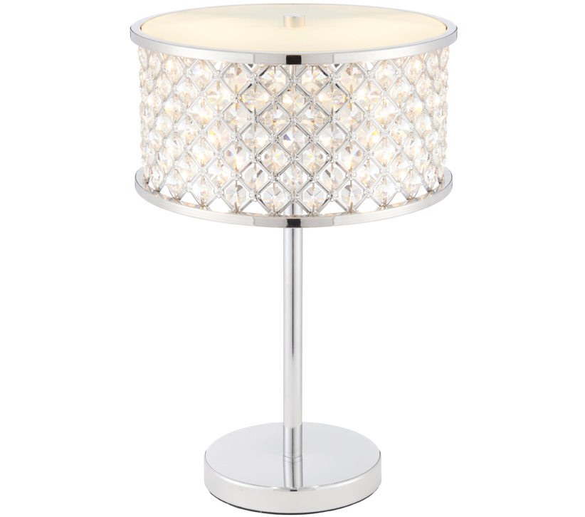 Endon hudson 2 light table lamp chrome plate clear crystal glass with frosted glass diffuser 72747