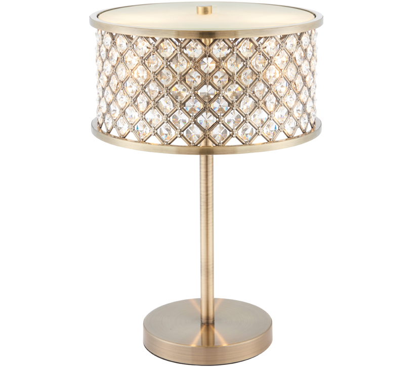Endon hudson 2 light table lamp antique brass clear crystal glass with frosted glass diffuser 72749