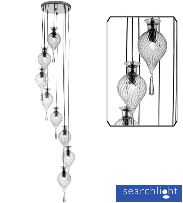 searchlight 39 twirls 39 8 light multi drop ceiling pendant. Black Bedroom Furniture Sets. Home Design Ideas