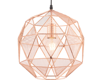 Endon Armour 1 Light Pendant, Copper Plate Finish - 72815