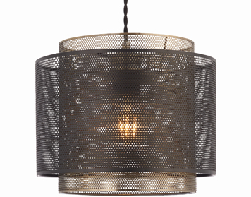 Endon Plexus Non Electric 1 Light Pendant, Matt Black & Antique Brass Plate Finish - 72829