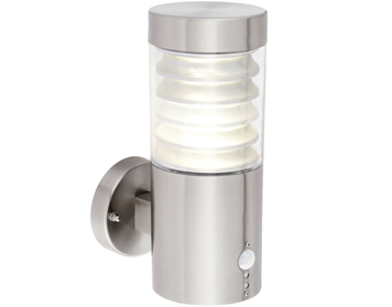 Endon Equinox 1 Light Outdoor LED PIR Wall Light, Clear PC & Marine Grade Brushed Stainless Steel Finish - 72916