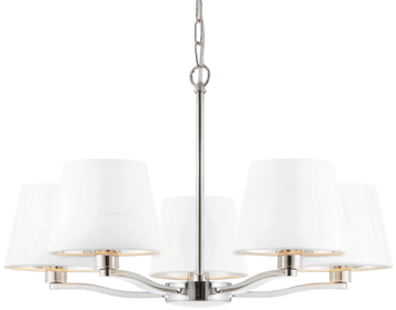 Endon Harvey 5 Light Pendant, Bright Nickel Finish With Vintage White Faux Silk Shade - 73022