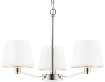 Endon Harvey 3 Light Pendant, Bright Nickel Finish With Vintage White Faux Silk Shade - 73023