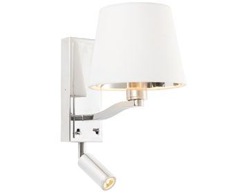 Endon Harvey 1 Light Wall Light With Integrated Spot, Bright Nickel Finish With Vintage White Faux Silk Shade - 73027