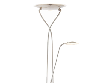 Endon Livorno Mother & Child Floor Lamp, Satin Chrome & Frosted Plastic - 73087