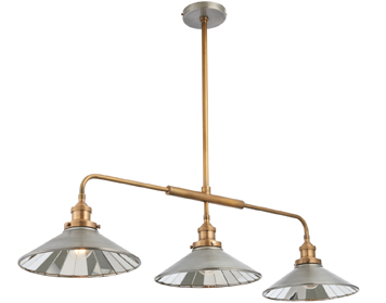 Endon Tabyas 3 Light Pendant, Zinc Effect & Antique Solid Brass Finish With Mirrored Glass - 73128