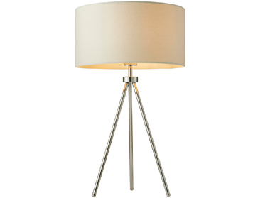 Endon Tri Ivory 1 Light Table Lamp, Matt Nickel Plate Finish With Ivory Linen Mix Shade - 73144