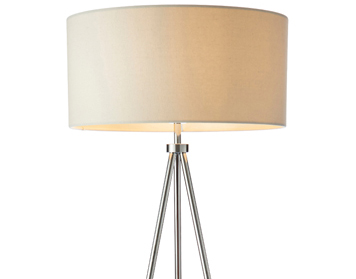 Endon Tri Ivory 1 Light Floor Lamp, Matt Nickel Plate Finish With Ivory Linen Mix Shade - 73145