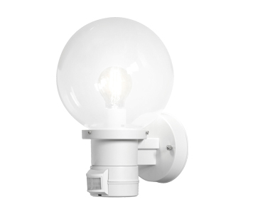Konstsmide Nemi 1 Light Outdoor Wall Fitting With PIR Sensor, White Finish With Clear Acrylic Globe - 7321-250