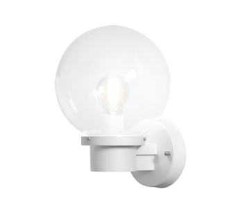 Konstsmide Nemi 1 Light Outdoor Wall Light, White Finish With Clear Acrylic Globe - 7335-250
