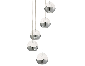 Searchlight Iceball 5 Light LED Multi-Drop Ceiling Pendant Light, Chrome Finish With Glass Shades - 7355-5CC