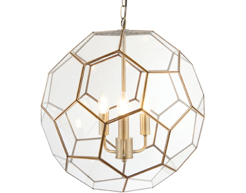 Endon Miele 3 Light Pendant, Antique Brass Finish With Clear Glass - 73560