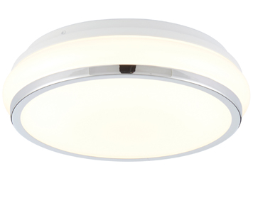 Endon Torus Flush Bathroom Ceiling Light, White Acrylic & Chrome Plate Finish - 73714
