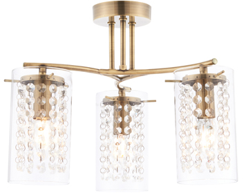 Endon Alda 3 Light Ceiling Fitting With Glass Shade & Beads, Antique Brass Plate Finish - 73750