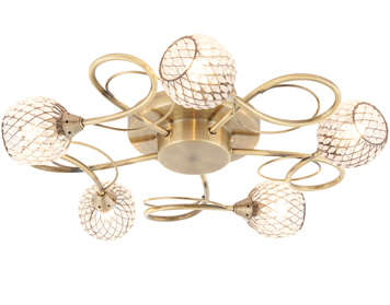 Endon Aherne 5 Light Flush Ceiling Light, Antique Brass Plate Finish With Clear Bead Shades   - 73757