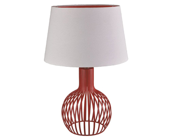 Searchlight Cage Table Lamp, Red Lamp With White Shade & Red Inner - 7381RE