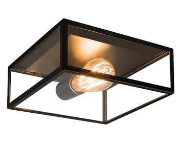 Astro Bronte Flush Ceiling Light, Matt Black Finish With Clear Glass - 7388