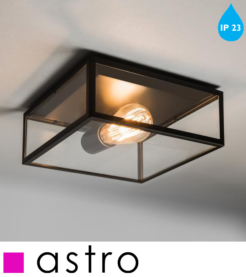 astro bronte ip23 flush ceiling light black with clear glass