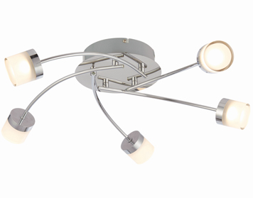 Endon Ikos 5 Light Semi Flush Bathroom Ceiling Light, Chrome Plate With Clear & Frosted Acrylic - 73891