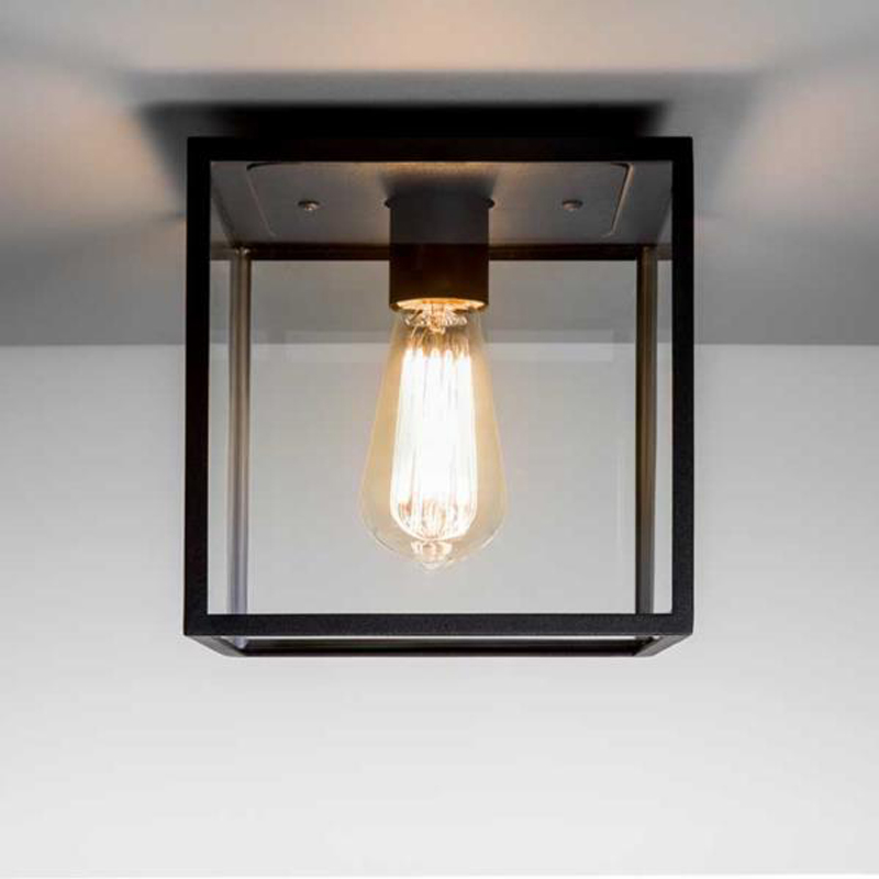 Astro 39 Bronte 39 IP23 Flush Ceiling Light Black With Clear Glass 738