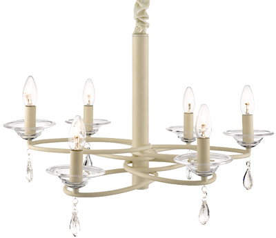 Searchlight Lotus 6 Light Glass Ceiling Fitting, Cream - 7396-6CR