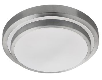Searchlight Flush Bathroom 2 Tier LED Ceiling Light, Aluminium Trim With White Diffuser - 7402-34