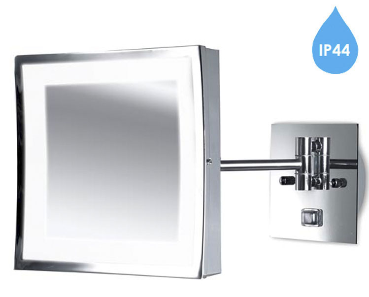 Leds c4 39 vanity 39 ip44 adjustable illuminated bathroom mirror light polished chrome 75 4366 21 Polished chrome bathroom mirrors