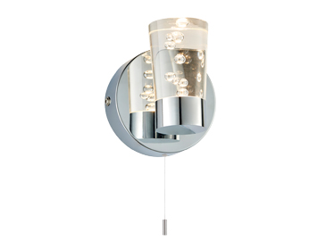 Endon Rocco 1 Light Bathroom Wall Light, Chrome Plate & Clear Bubble Acrylic Finish - 75002