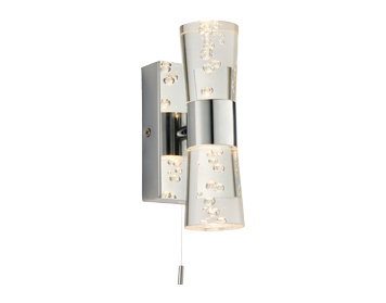 Endon Rocco 2 Light Bathroom Wall Light, Chrome Plate & Clear Bubble Acrylic Finish - 75003