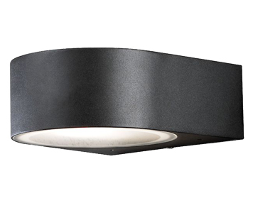 8ad33d06d3b2 Konstsmide Teramo 1 Light Outdoor Up & Down Wall Light, Matt Black Finish  With Frosted